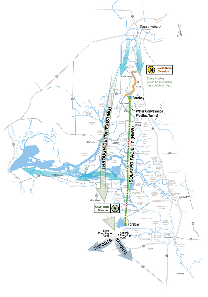 Map of proposed Bay Delta tunnels