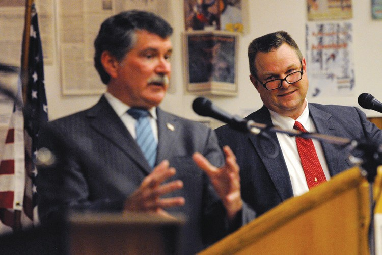 "Denny Rehberg and Jon Tester during their June debate, when Tester charged that Rehberg is a ""mansion rancher."""