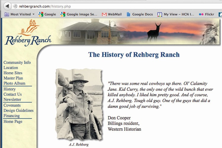 "The Rehberg Ranch Estates website shows the family history starting with A.J. Rehberg. But a records search shows that even early on, A.J. was a land speculator. ""I remember him telling me that he owned no land that wasn't for sale,"" Denny Rehberg says."
