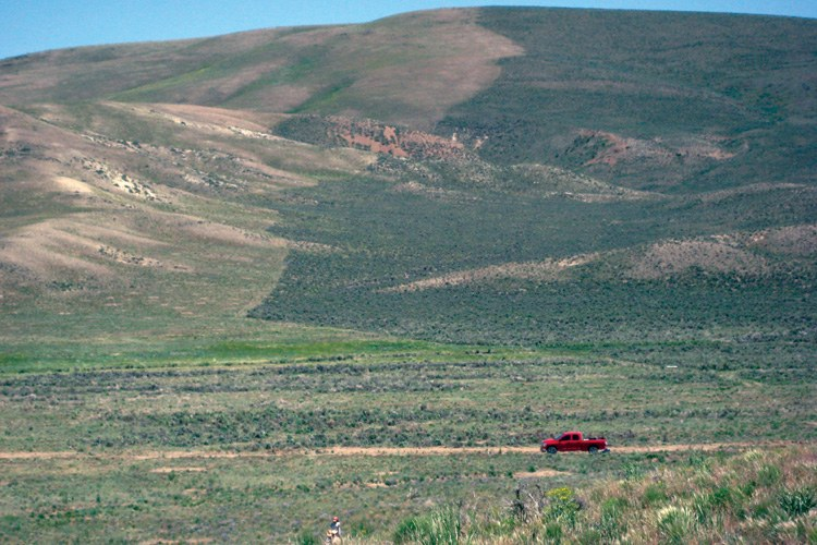 A fire line in the 2006 Basco Fire in Elko County, Nevada, protected the mature sagebrush community on the right side of the mountain.