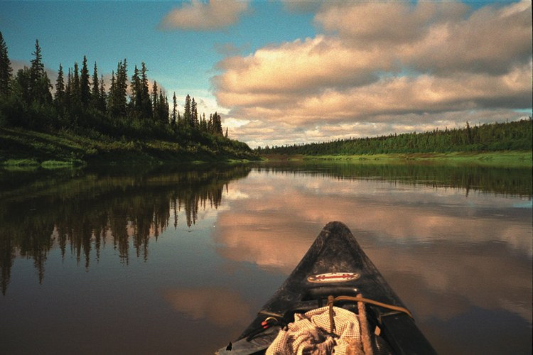 Paddling down the Porcupine River near the Arctic Circle.