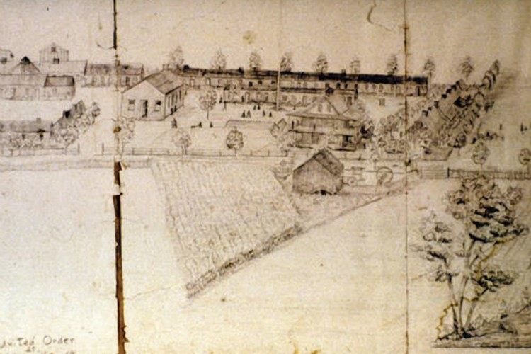 A sketch of the settlement of Orderville, Utah. The town had a central plaza and dining hall where communal meals were prepared and shared, and all property was held in common, with the wealth being distributed evenly.