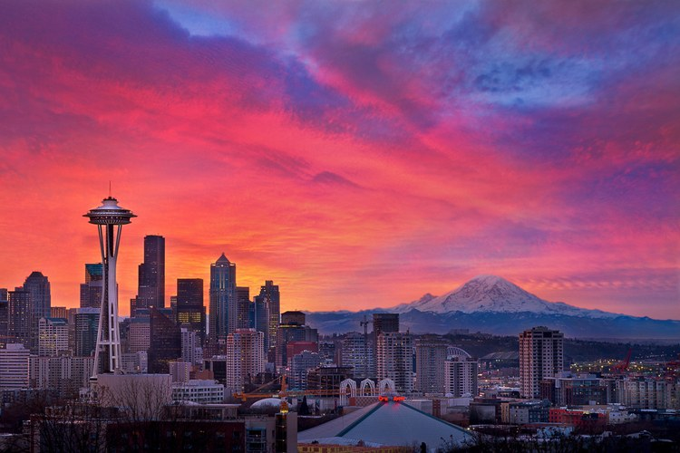 Sunset over Seattle, with Mount Rainier