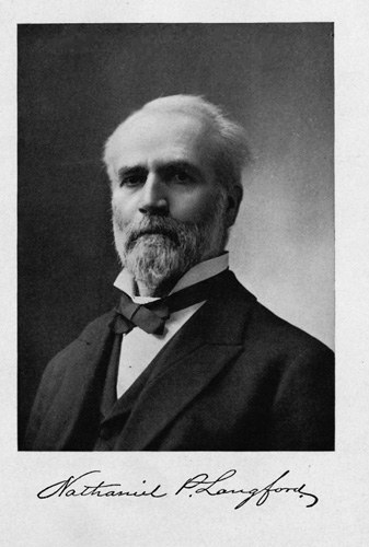 Nathaniel Pitt Langford, seen above in his 1905 book The Discovery of Yellowstone Park (1870), served as Yellowstone's first superintendent.