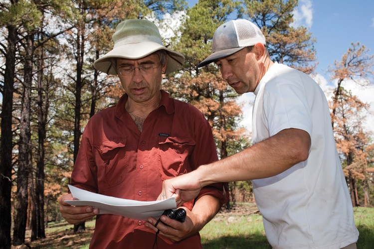 Craig Allen, left, of the U.S. Geological Survey, consults a map with research ecologist José Iniguez while touring the Whitewater-Baldy Complex burn area.
