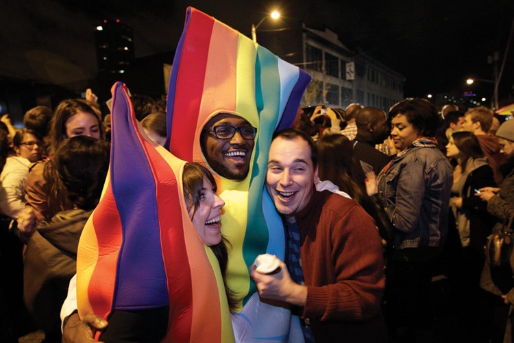Referendum 74 revelers on election night in Seattle's Capitol Hill neighborhood. The measure passed, legalizing gay marriage in Washington state.