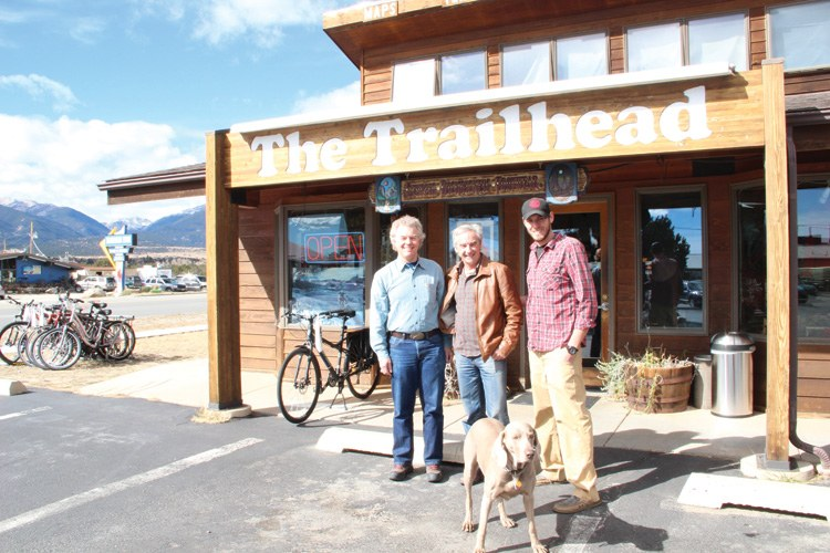 Trailhead owner Keith Baker, mountain guide Jean Pavillard and Trailhead employee Ben Wygant in front of Baker's shop in Buena Vista.