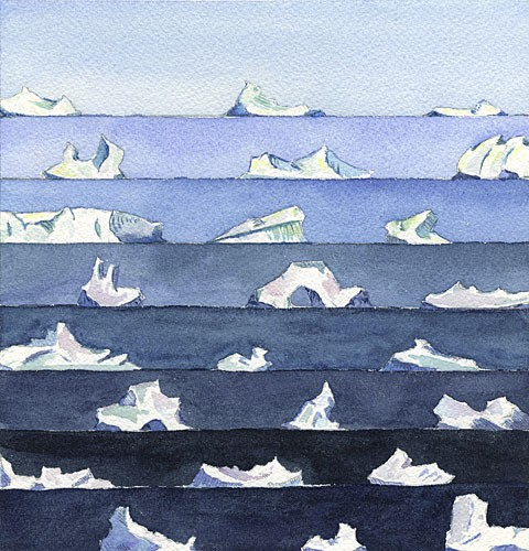 "Many Shapes and Sizes, 8"" x 8"" field watercolor, 2008 (Antarctica)"