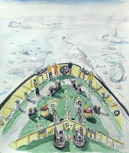 "From the Bridge, 10"" x 12"" ink and watercolor field sketch, 2006 (Antarctica)"