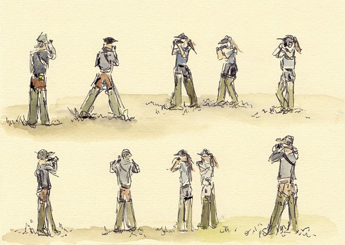 "Searching for Godwits, 7"" x 5"" ink and watercolor field sketch, 2012"