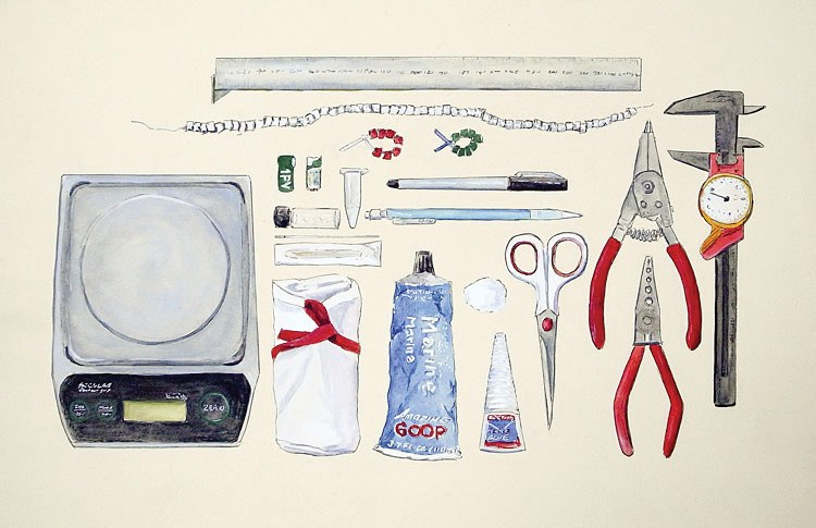 "Ornithologist Banding Toolkit, 17"" x 11"" ink, watercolor, and gouache field sketch, 2012"