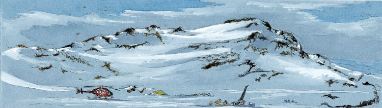 Moving Camp, 12-inch-by-3.5-inch ink and watercolor field sketch, 2005.