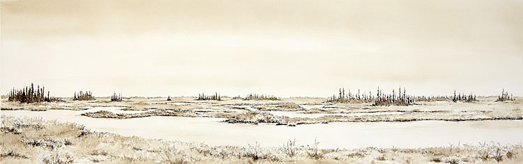 "Beluga, Alaska, 30"" x 9"" ink and walnut wash, 2012"
