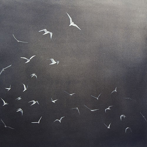 "Following the Light, Dusk, 24"" x 24"" ink, watercolor, and gouache, 2012 (Arctic Terns)"