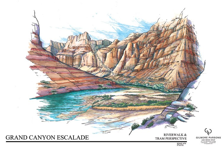An artist's rendering of the proposed aerial tramway that would ferry tourists from the east rim of the Grand Canyon to the water's edge of the Colorado and Little Colorado Rivers as part of the Grand Canyon Escalade development.
