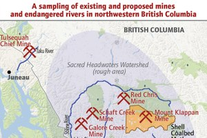 A sampling of northwestern British Columbian mine sites and endangered rivers