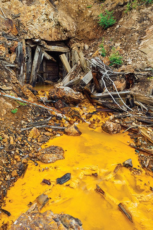 Acid mine drainage from an adit at the 1950s-era Tulsequah Chief Mine -- which the owners hope to reopen -- flo