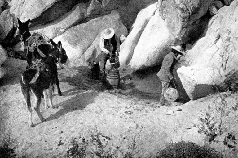 Above: Thirsty travelers filling canteens and water barrels at a desert waterhole along El Camino del Diablo. Tule Tank, 1910.