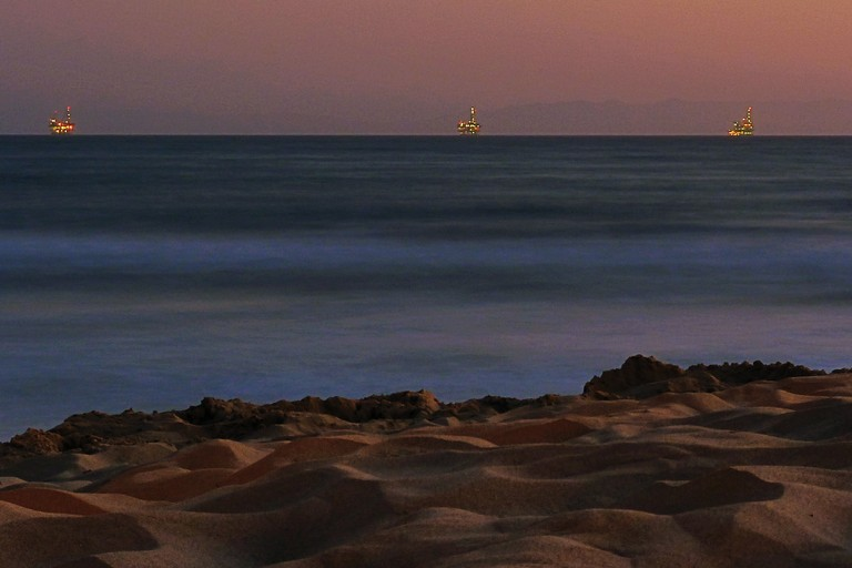 Oil rigs a few miles off the Carpinteria beach, near Santa Barbara.