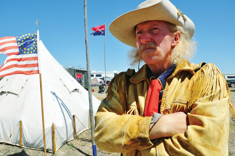 Rick Williams impersonates George Armstrong Custer. Williams specializes in the controve