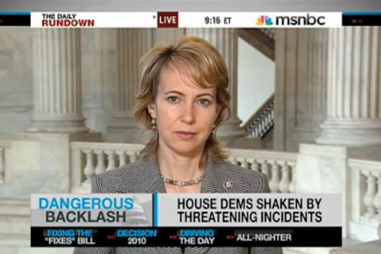 "In March 2010, after her office was vandalized, Giffords told MSNBC that leaders ""really need to realize that the rhetoric, firing people up ... there's consequences ... ."""