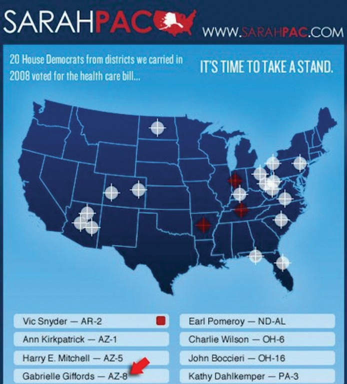 Gabrielle Giffords' Arizona district was among those shown under  a sniper's crosshairs on a map that appeared on Sarah Palin's website.