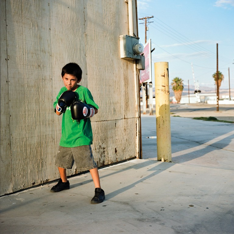 Eleven-year-old Sebastian trains at the Thermal Boxing Club.