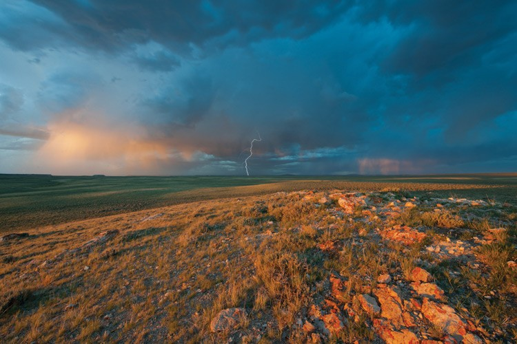 A midsummer thunderstorm rolls across Beaver Rim near Carmody Lake in Wyoming. The area is one of the first to make it through master lease planning -- a key oil and gas reform introduced by the Obama administration in 2010.