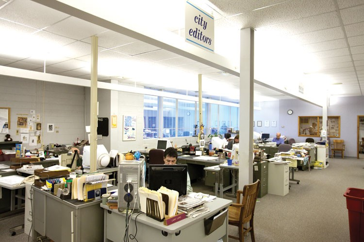 The newsroom at the Pueblo Chieftain, which has been buffeted by the recession and by readers' and advertisers' turn to the Web.