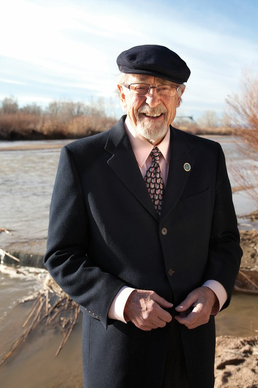 Pueblo Chieftain Publisher Bob Rawlings stands next to Fountain Creek, near its confluence with the Arkansas River in Colorado's Lower Arkansas Valley.