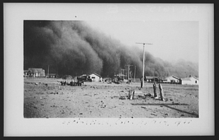 The Lower Arkansas Valley's fortunes have risen and fallen since the Dust Bowl. Dust storm in B