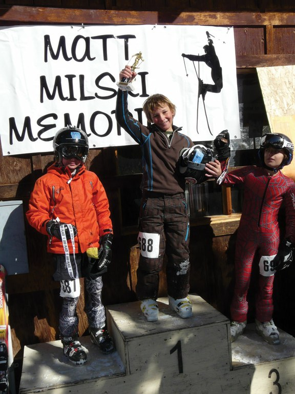 Evan Alsup from Silverton, Colorado, takes first place in the Alpine 8-to-11-year-old Boys Division while his brother, Ely, takes second. Third place goes to Malachy Swonger, also from Silverton.