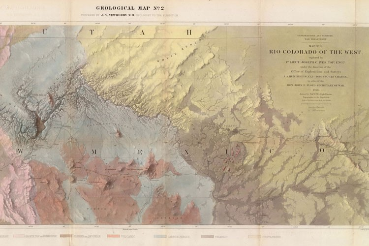 "Published in 1861, this shaded relief map of the Grand Canyon by cartographer F.W. von Egloffstein shows a segment of the Old Spanish Trail running north of the settlement of ""Los Vegas."""