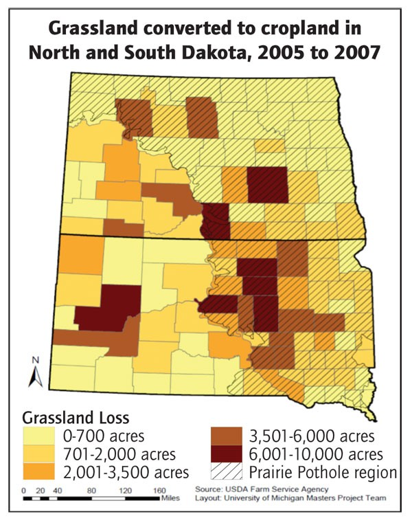 After requests from conservation groups, the Farm Service Agency provided the 2004-2007 data in this map. The agency does not regularly track sodbusting in the Dakotas. High Country News obtained FSA-recorded sodbusted acres in Montana, listed at 56,735 for 2005-2011.