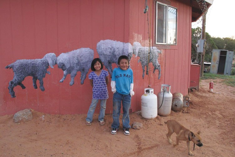 Sheep, thanks to their importance to the Navajo, are a favorite theme, August 2010.
