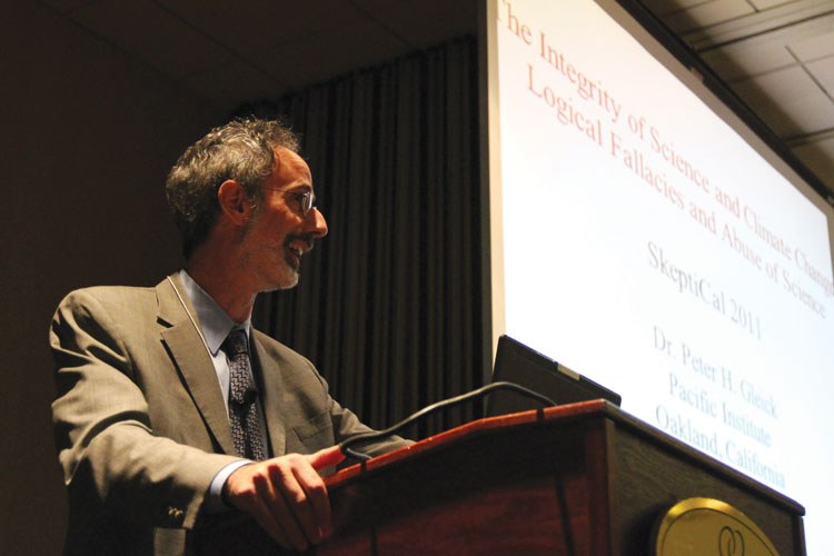 Peter Gleick lectures at SkeptiCalCon last May in Berkeley.
