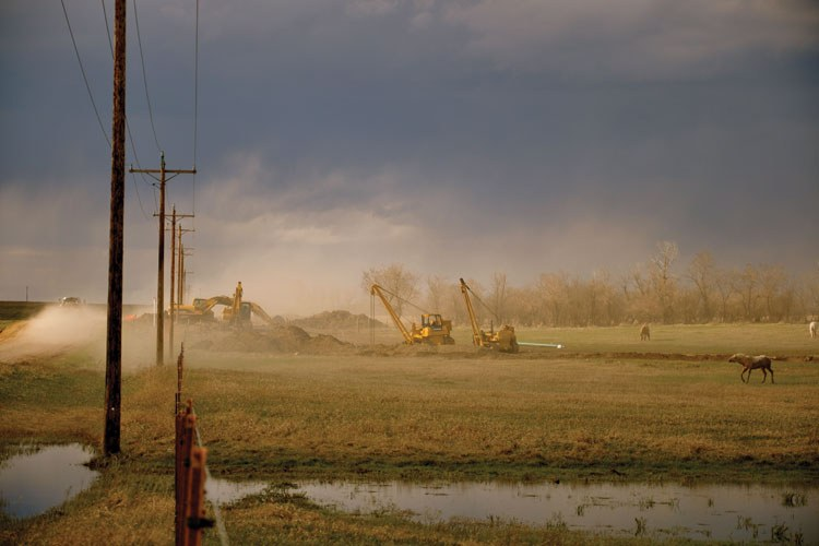 Horses shake off the dust as a backhoe and other heavy equipment dig a trench for a gas pipeline.