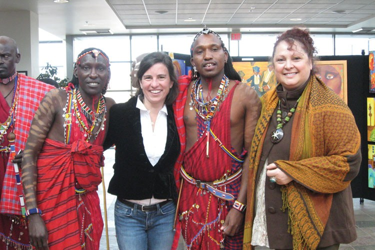 Colleen Bailey, second from left, with participants in the Africano Cultural Celebration at the National Steinbeck Center.