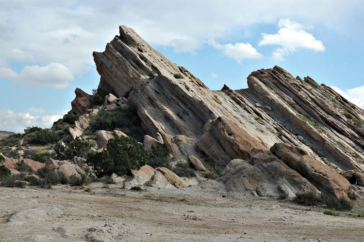 Vasquez Rocks Park in Agua Dulce, California. These rock formations were created by the action of the San Andreas Fault.