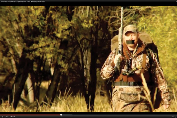 "A scene from ""Rehberg's Land Grab,"" an ad by Montana Hunters and Anglers Action, says Homeland Security would gain ""complete control"" and Montanans would ""have no say, if Rehberg gets his way."""