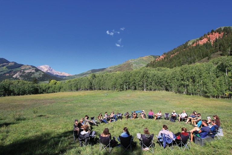 The Semester in the West chair circle at Snowmass Falls Ranch near Aspen, Colorado.
