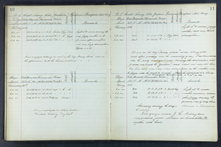 Sample pages from the Yukon's logbook.
