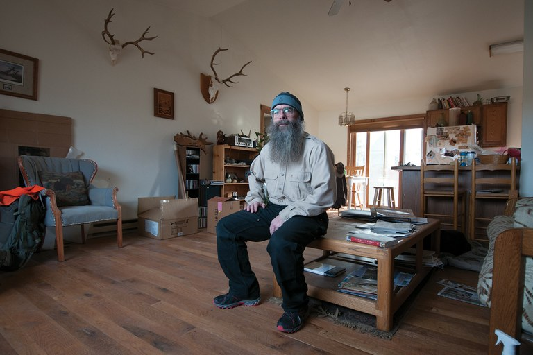 Armond Acri, executive director of Save Historic Jackson Hole, has battled big affordable housing projects in South Park, where he has his home office.