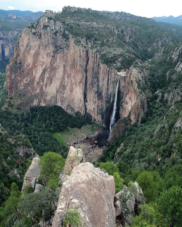 The spectacular Basaseachi Falls, 807 feet high, in the Copper Canyon region of the Sierra Madre Occidentale, Chihuahua, Mexico.