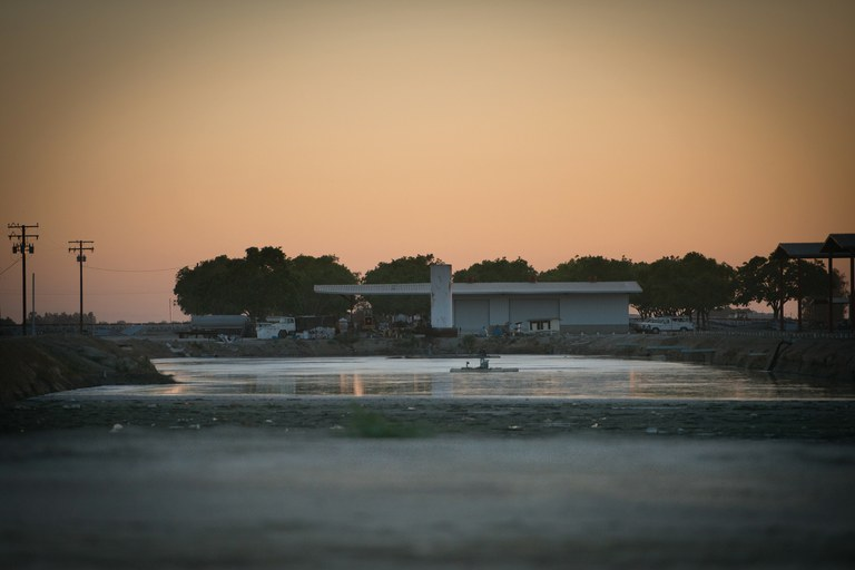 An unlined animal waste lagoon at a dairy in Tulare County, California. Dairies and farms are responsible for 96 perce