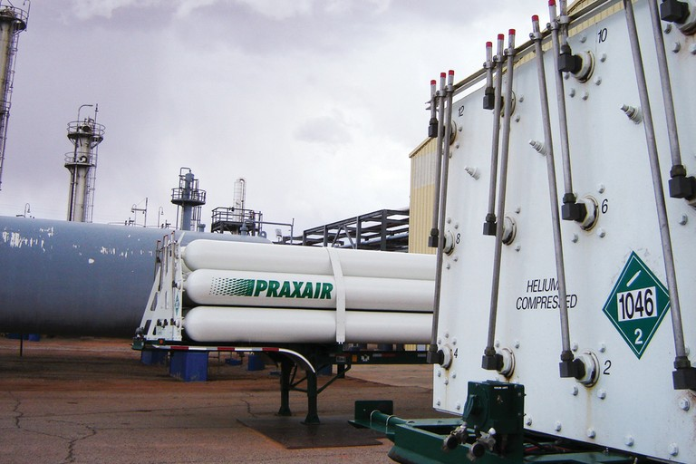 Trailers carrying compressed helium await transport at the Paradox Midstream gas plant near Moab, Utah.