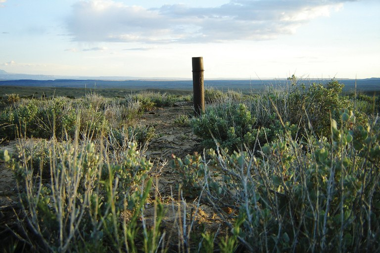 A capped pipe at a site near the Utah- Colorado border which was recently approved to house the nation's first helium-only well.
