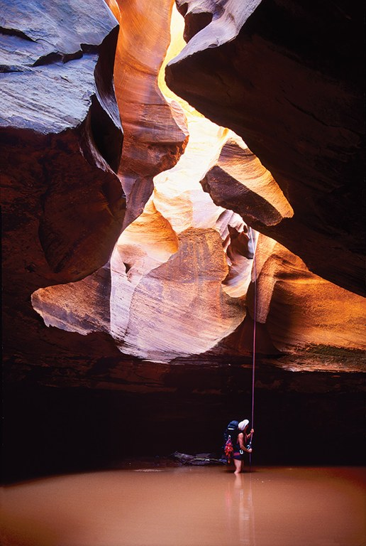 Canyoneering in White Canyon, a proposed wilderness area in the San Juan-Greater Canyonlands part of eastern Utah.