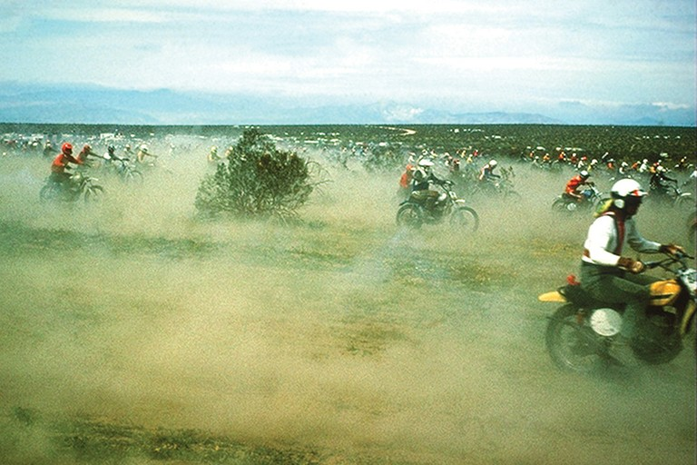 The Barstow to Vegas race, c. 1976. In its heyday, 3,000 riders would tear across 150 miles of prime desert tortoise territory. It was discontinued after the 1989 listing of the desert tortoise.