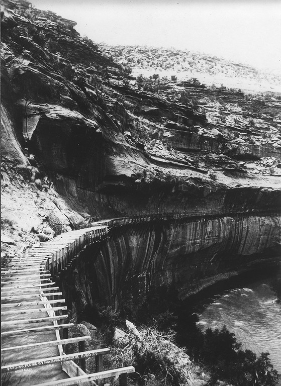 Water flowing in Hanging Flume, early summer 1891.
